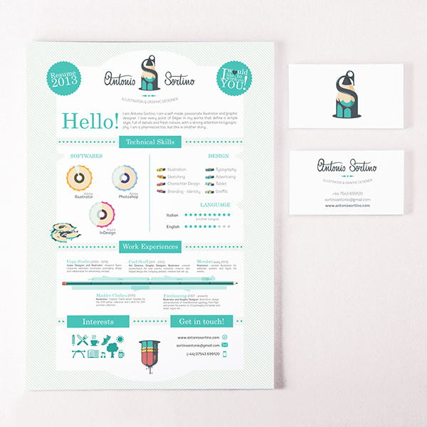 antonio sortino  logo  business card and cv  resume  on behance