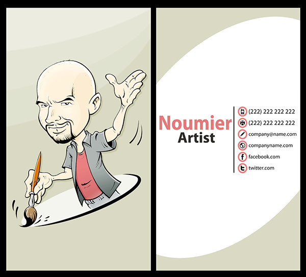 Character business card caricature   personalized Promotion Marketing. graphic impressive social media design