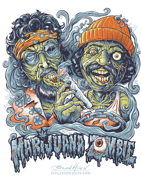 Cheech and Chong Zombies T-Shirt Illustration by Brian Allen