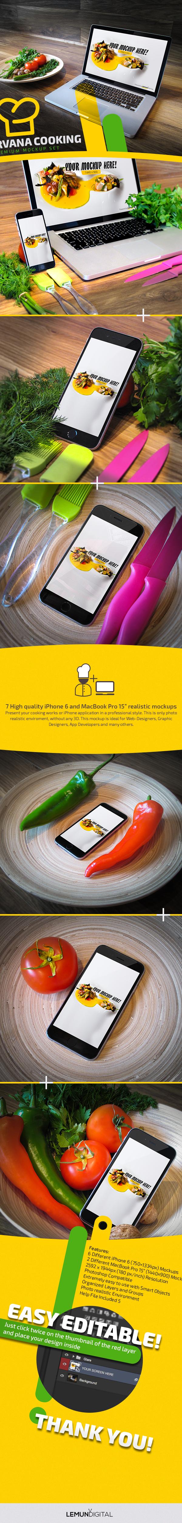 iphone 6 macbook apple Mockup mockups cooking kitchen vegetables fresh lemun digital Tomato green mock-up nirvana