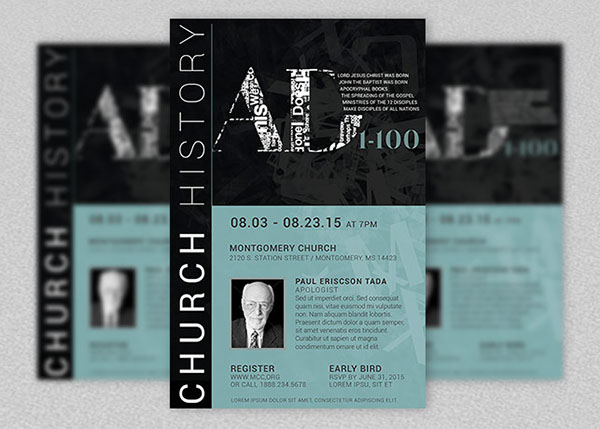 Church History Seminar Flyer And Poster Template On Behance