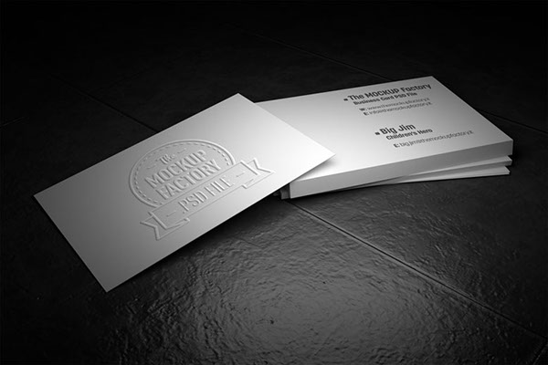 Business card mockup on graphic river on behance photorealistic business card embossed effect mock up colourmoves