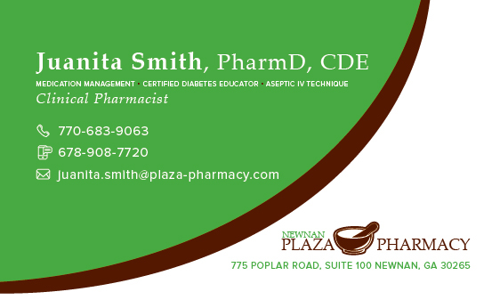 Newnan plaza pharmacy logo business card on student show colourmoves