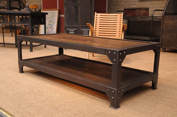 French Vintage Industrial Two Tiered Coffee Table On Behance