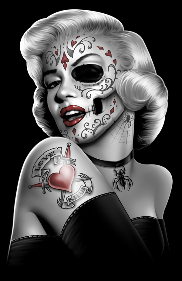 Color separations for screen printing on behance for Marilyn monroe skull tattoos