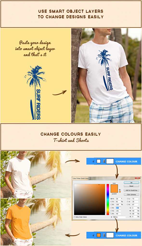 beach t-shirt printing tee t-shirt mock-up sell Mockup male summer man Young wear sand surfer surfing