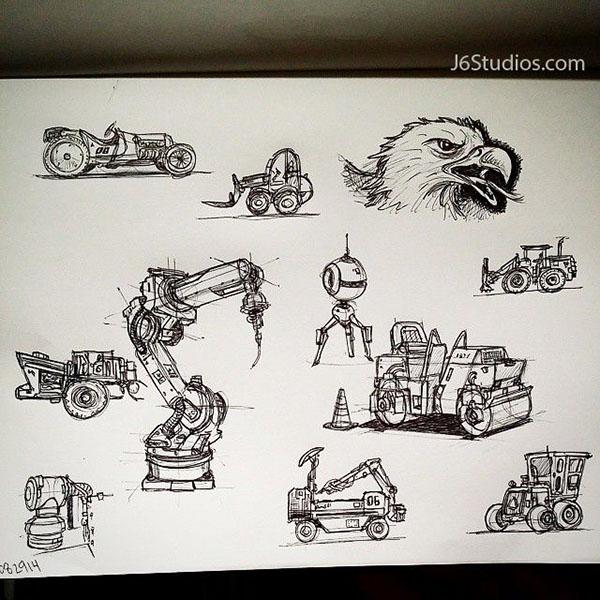 sketches sketching robots mecha
