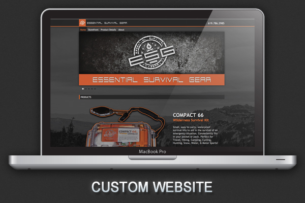 ESG essential survival Gear kits logo identity Web site
