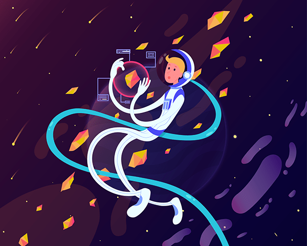 Space illustrations for UI