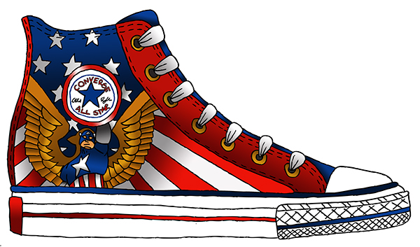 converse shoes clipart. captain america - converse shoe shoes clipart