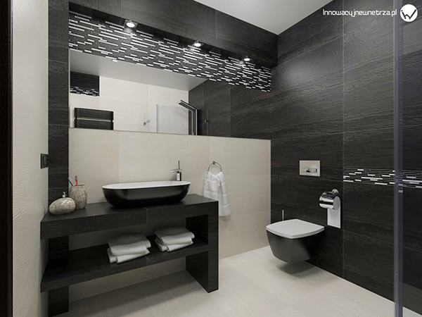small 5m2 bathroom with ergon falda black white tiles on