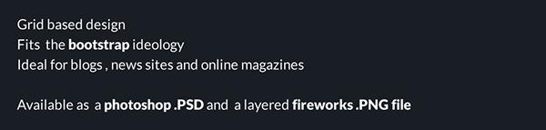 Web bootstrap grid magazine lifestlyle freebie psd fireworks