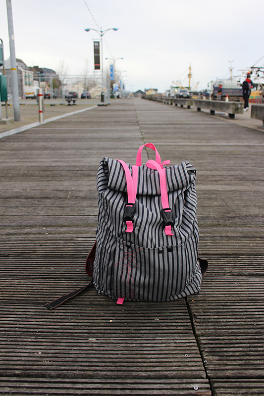 backpack textile stripes and straps pink straps Travelling huge space