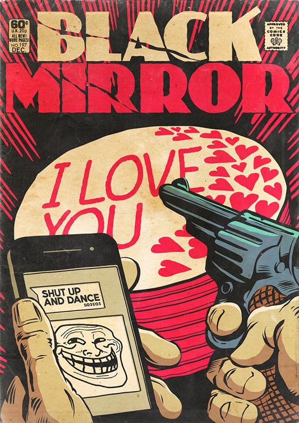 black mirror Netflix comic books pulp vintage