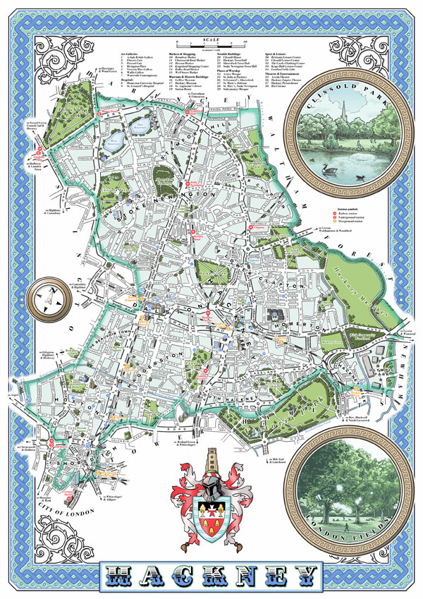 Shoreditch Map: Illustrated Maps Of London Boroughs & Neighbourhoods On