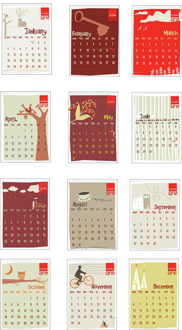 Calendar Ribbon Design : Red ribbon calendar design for on behance