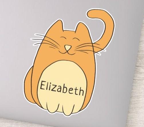 Cute Cat Cartoon Sticker Personalized