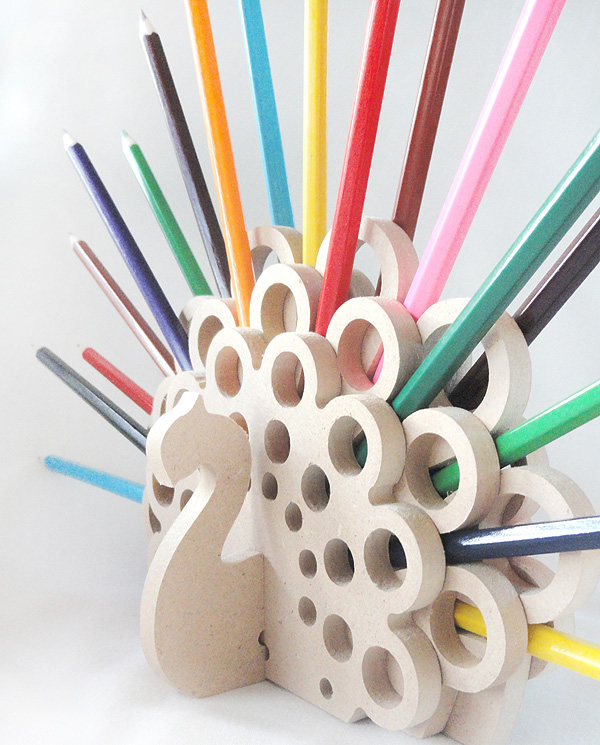 Creative Pen Stand Designs : The hedgehog and peacock pencil holders on behance