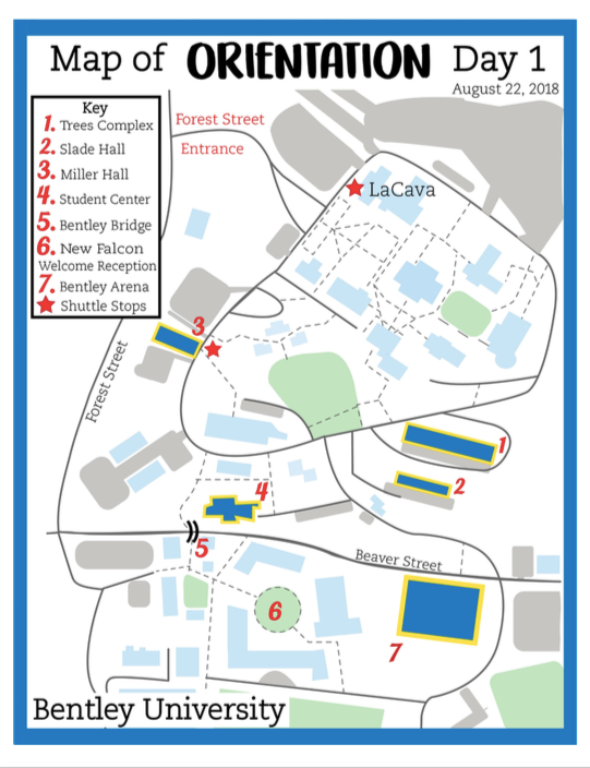 Bentley University Map Bentley University Campus Map   Orientation Day 1 on Behance