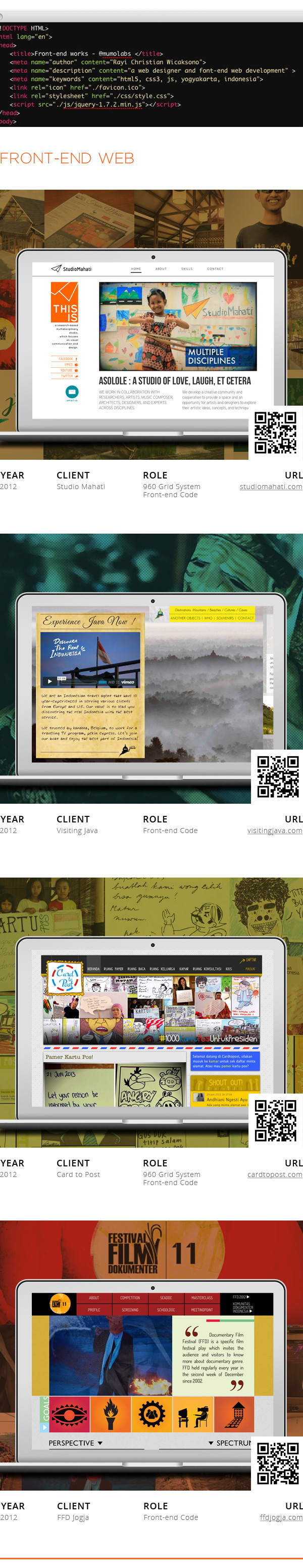 studio mahati visitingjava card to post FFD front-end code 960 grid system Single Page Website