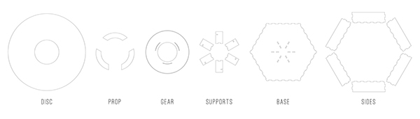 laser cut plywood mechanical gears light Lamp hand crank hardware hack narratives story interactive