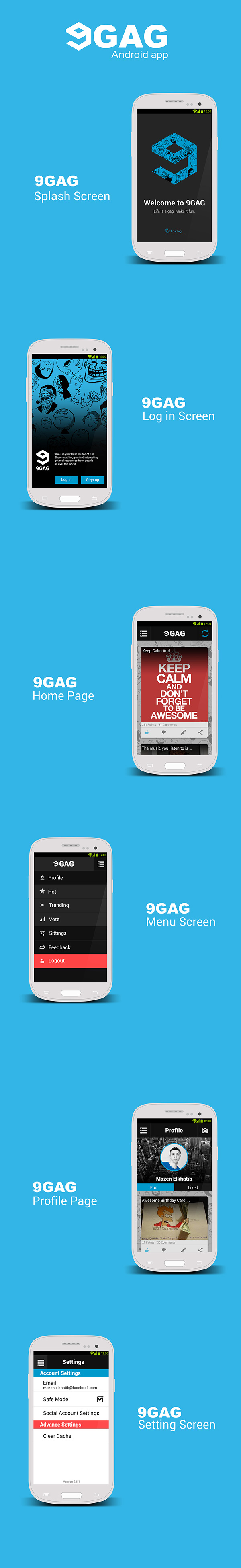 9gag mobile app ui re design on student show for Architecture students 9gag