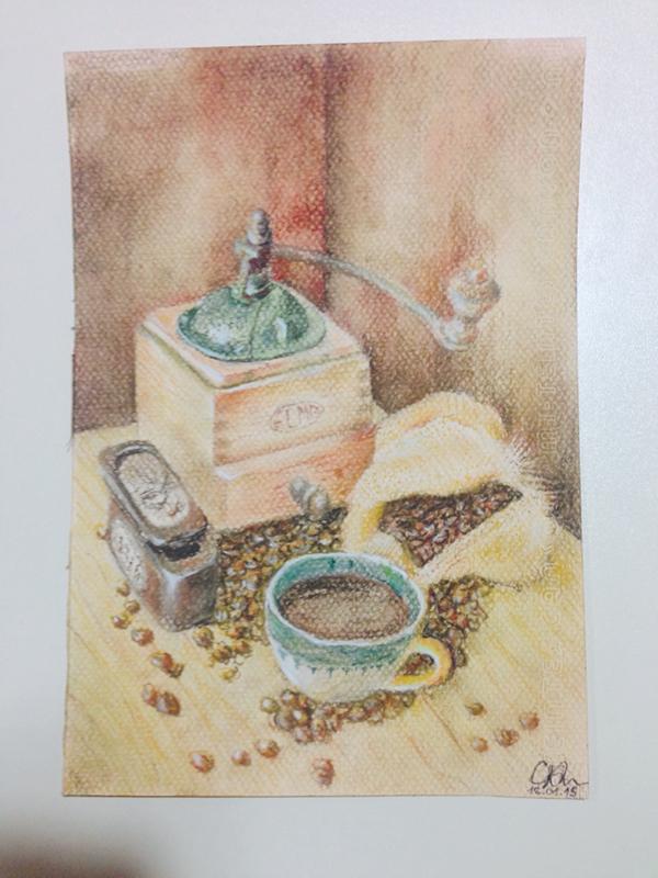 pastel,pencils,Coffee,Drawing