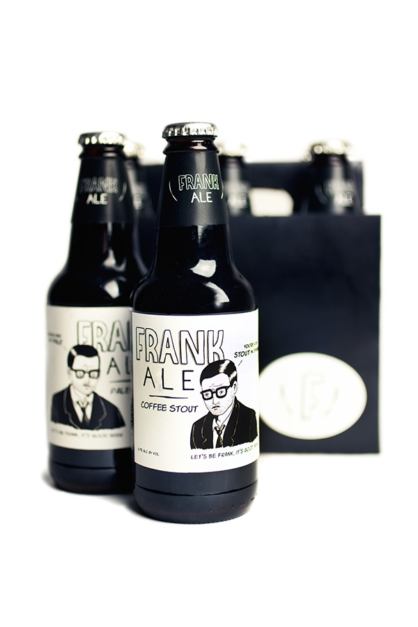 frank ale beer product packaging Character comics black & white