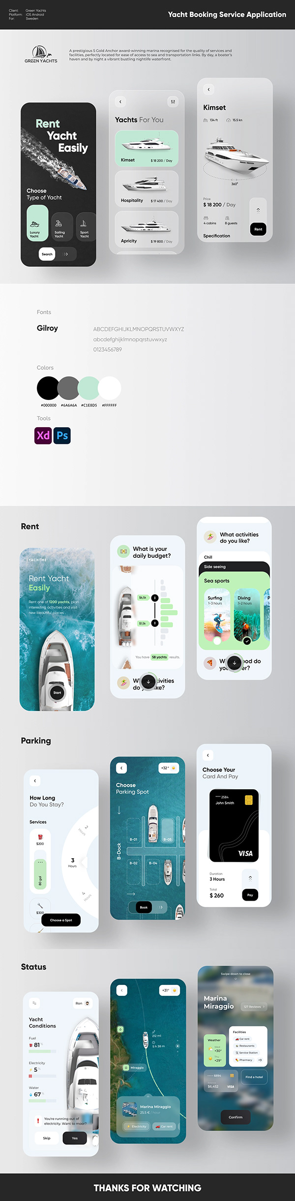 Green Yacht Booking Service App