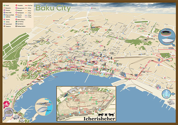 Touristic Baku map for Baku 2015 European Games on Wacom Gallery