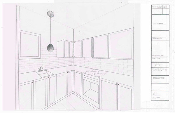 Kitchen Elevation Architectural Drafting Class On The Art