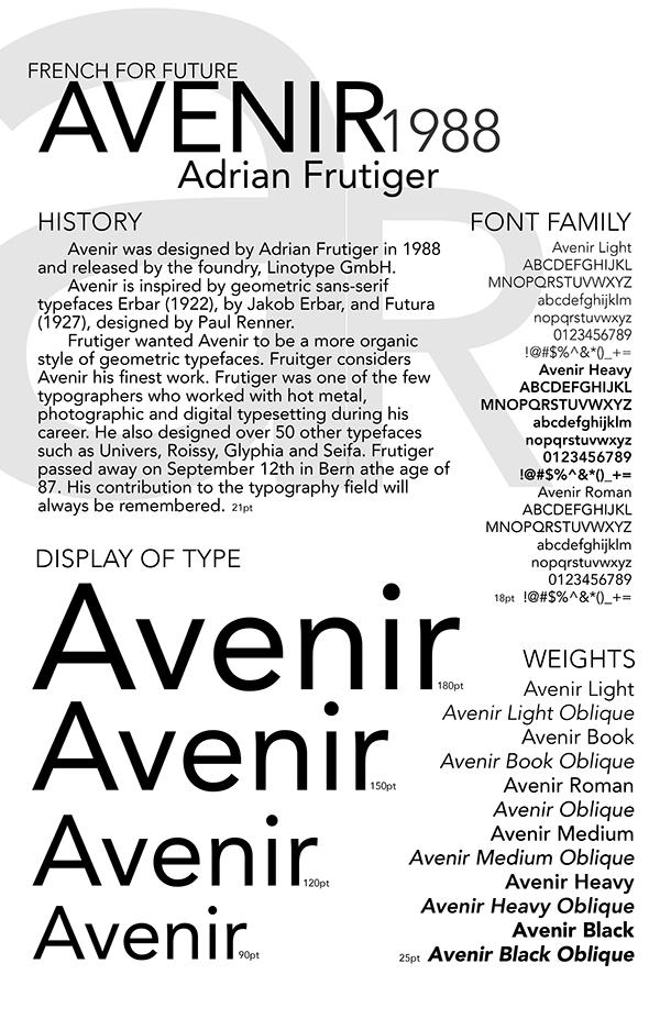 Avenir Type Specimen on Student Show