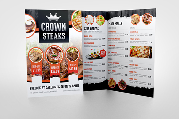 how to put half of menu on a brochure