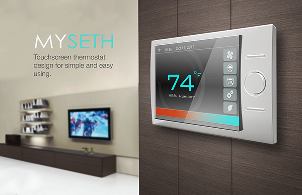 myseth touchscreen thermostat design on behance. Black Bedroom Furniture Sets. Home Design Ideas