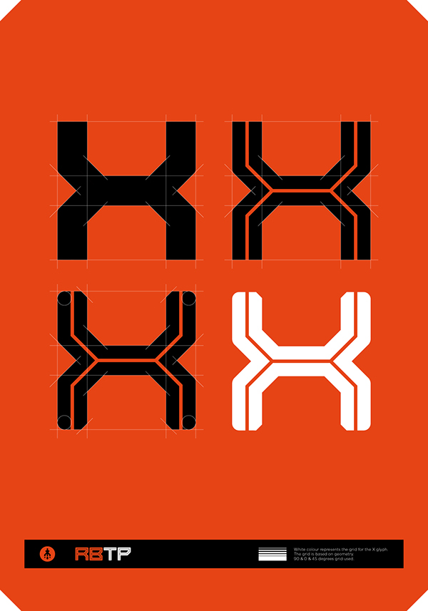 RBTP font Typeface graphic type glyphs typeface design display font george strouzas George strouzas athens Greece tech mech tokyo japan japanese anime music poster modernism RBTP font font design CMYK Behance