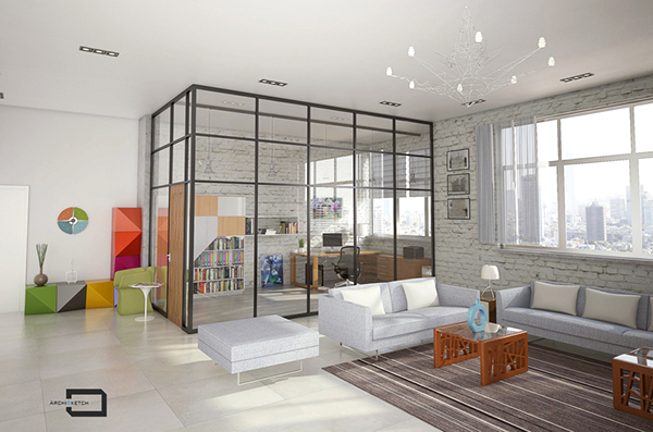 Urban studio apartment design and visualization on behance for Apartment urban design