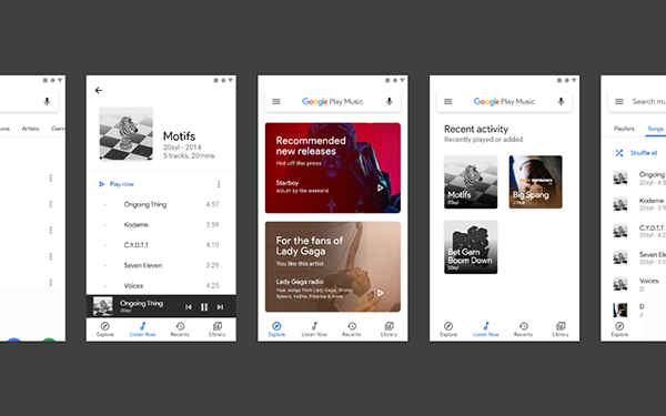 Google Play Music Redesign With Google S Material Theme On Behance