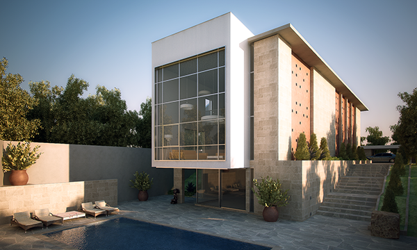 Villa katampe facade and interior design on behance for Facade de villa moderne
