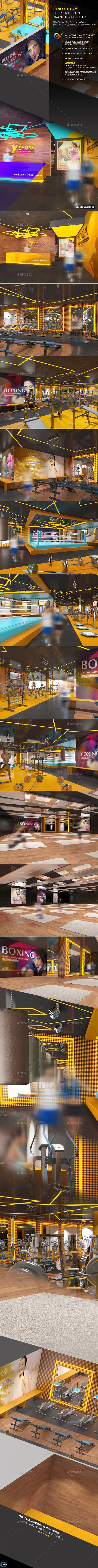 fitness gym interior design branding mockups on behance