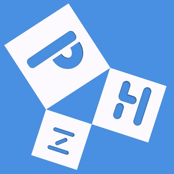 PHz paper cut logo identity