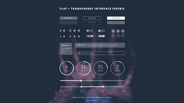 ui kit free freebie transparent flat