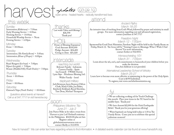 Harvest assembly bulletin on behance for Weekly bulletin template