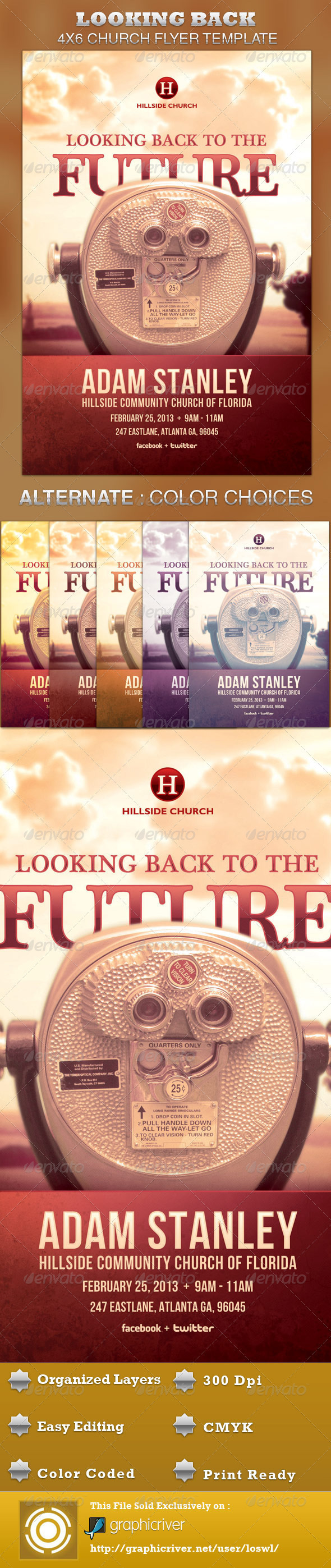 looking back to the future flyer template on behance the looking back to the future flyer template is great for any church event use it for gospel concerts pageants musical events and sermons etc