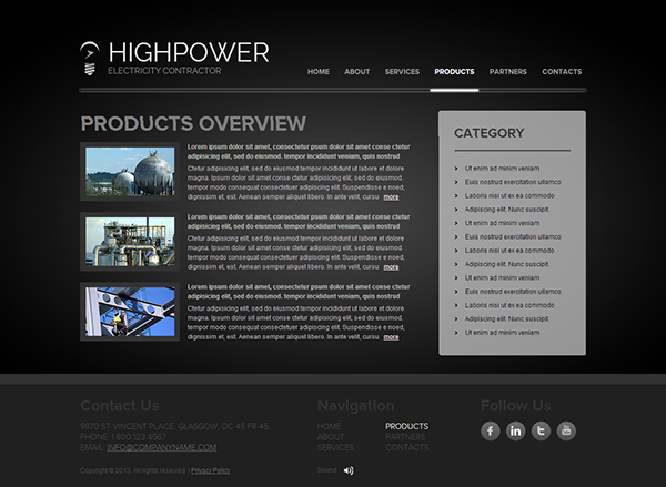 High Power Electricity Contractor HTML5 Template on Behance