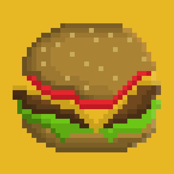 happy hardcore album art Pixel art Burgers japan Jcore pattern JAKAZiD