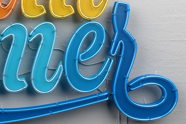 Muokkaa Neon 3D Design typography lettering