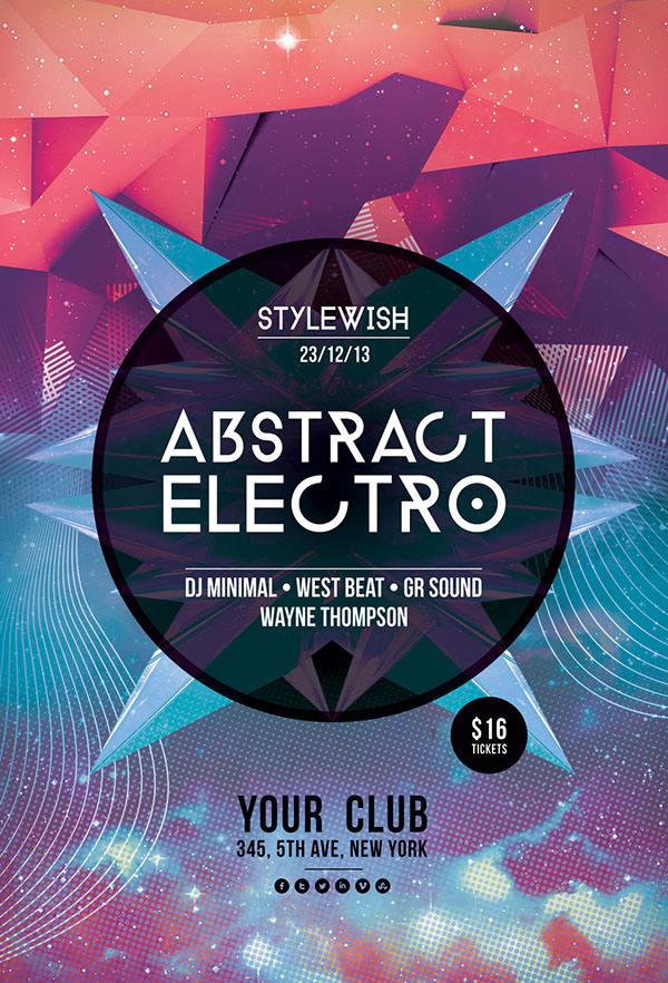 Abstract Electro Flyer Template On Behance