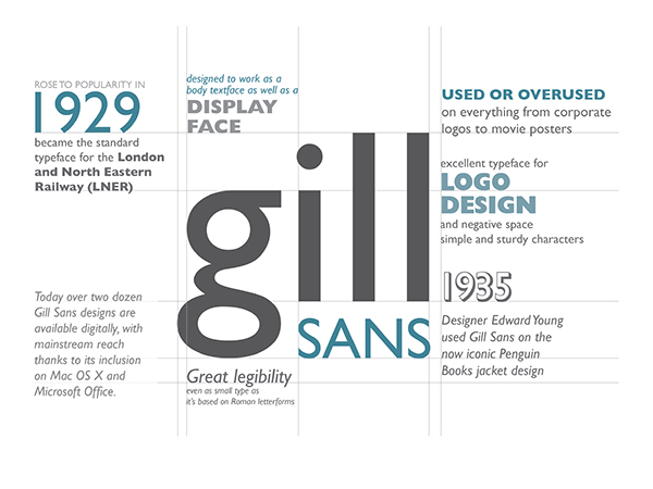the origins of gill sans film studies essay Gill sans also has a more pronounced contrast in stroke widths than most serifless fonts, making the design more appealing to the eye, and ultimately more readable, than its monoweight cousins rounding out the list of gill's practical benefits: the face is space-economical.
