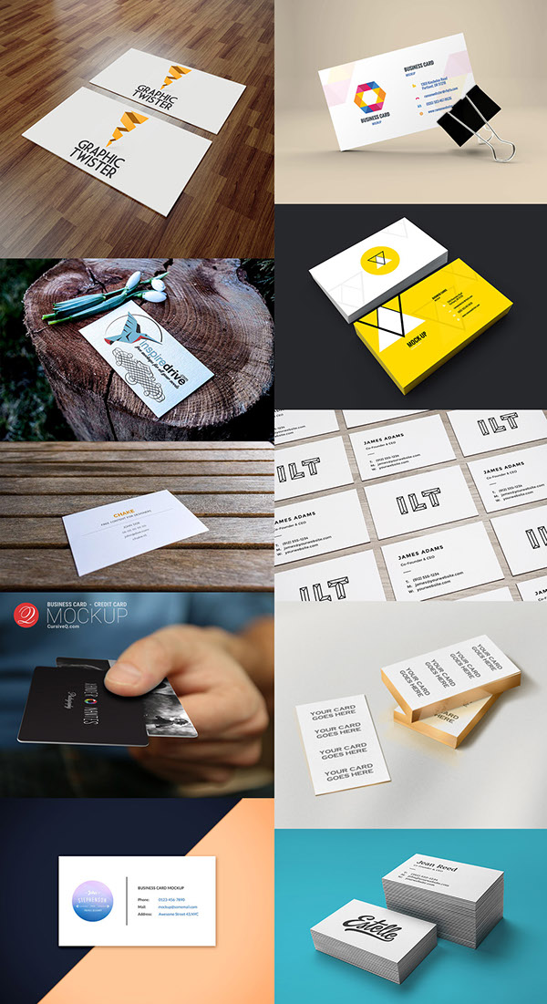 24 Free HQ PSD Business Card Mockups – January 2015 on Behance
