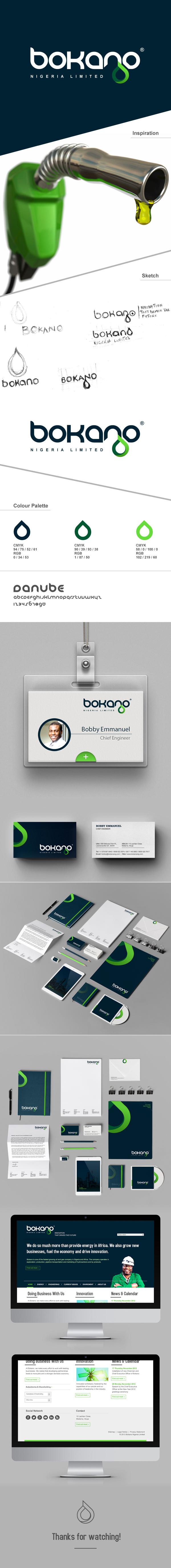 Bokano,branding stationary,blue,green,design,OIL AND GAS,petroleum,Website,Rebrand,print,logo